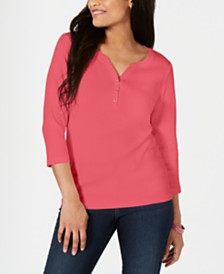 Karen Scott Petite Cotton Henley Shirt, Created for Macy's
