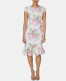 Betsey Johnson Petite Floral-Print Sheath Midi Dress