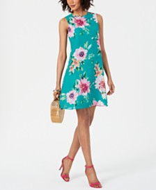 Jessica Howard Petite Floral Chiffon Trapeze Dress