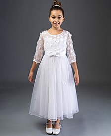 Embroidered Daisy Illusion Communion Dress