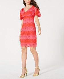 Trina Trina Turk Lace Flutter-Sleeve Sheath Dress, Created for Macy's