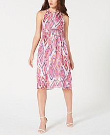 Printed Smocked Midi Dress