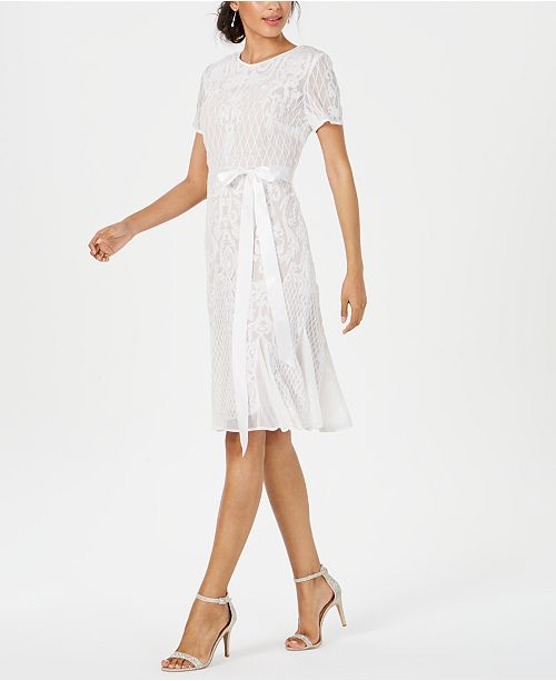 R & M Richards Belted Placed-Sequin Dress