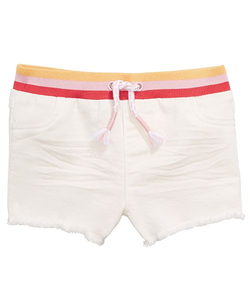 First Impressions Baby Girls Striped Waist Denim Shorts, Created for Macy's