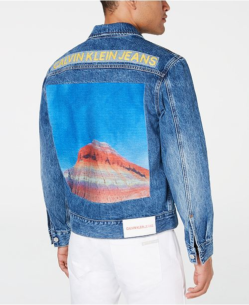 Calvin Klein Jeans Men's Mountain-Print Denim Trucker Jacket
