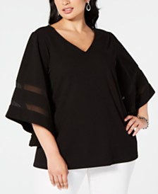 Alfani Plus Size Mesh-Inset Top, Created for Macy's