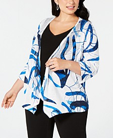 Plus Size Printed Open-Front Cardigan, Created for Macy's