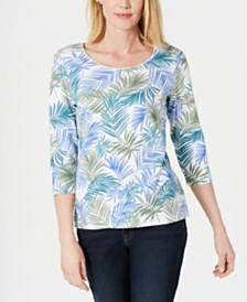 Karen Scott Petite Jungle-Print Top, Created for Macy's