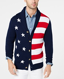 Club Room Men's American Flag Cardigan, Created for Macy's