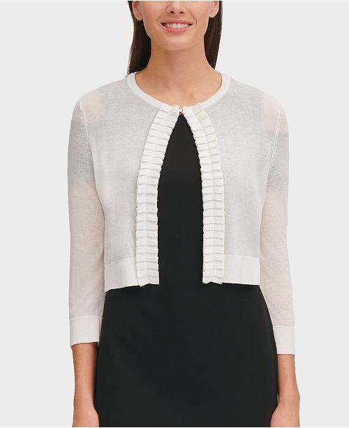 Tommy Hilfiger Ruffled Open-Front Shrug Cardigan