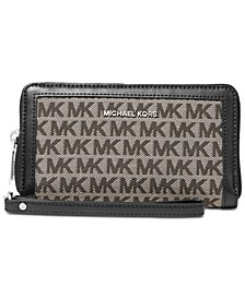 Jacquard Signature Double-Zip Wristlet