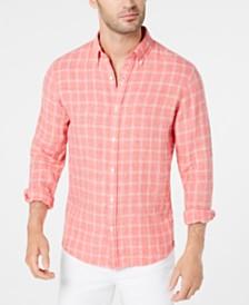 Michael Kors Men's Slim-Fit Mélange Check Linen Shirt
