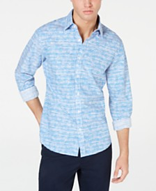 Michael Kors Men's Slim-Fit Textured Stripe Shirt