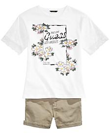 GUESS Big Girls Lace-Sleeve Logo-Print T-Shirt & Mini Shorts