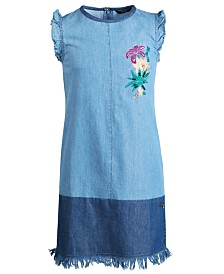 GUESS Big Girls Embroidered Denim Cotton Shift Dress, Created for Macy's