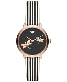 Emporio Armani Women's Black & White Striped Leather Strap Watch 32mm