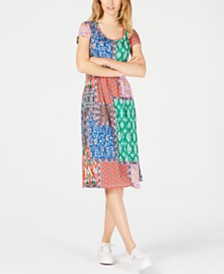 NY Collection Petite Tropical-Print Dress