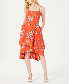 Vince Camuto Floral Square-Neck Fit & Flare Dress