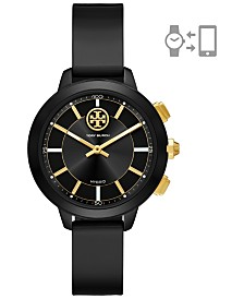 Tory Burch Women's Collins Black Rubber Strap Hybrid Smart Watch 38mm