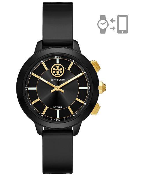 Tory Burch Women's Collins Black Rubber Strap Hybrid Smart Watch 38mm