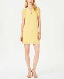 Vince Camuto Ruffle-Trim Keyhole Dress