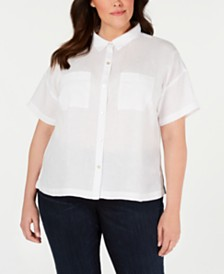 Eileen Fisher Plus Size Organic Linen Shirt