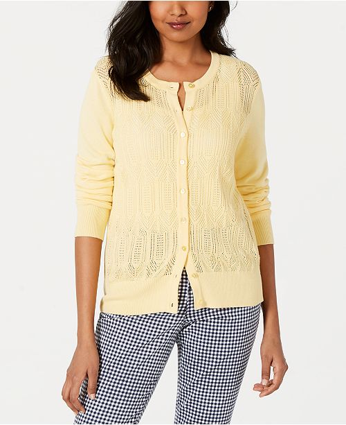 Charter Club Pointelle-Knit Cardigan, Created for Macy's