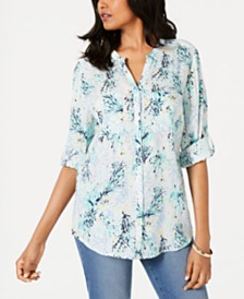 Charter Club Printed Gauze Utility Shirt, Created for Macy's