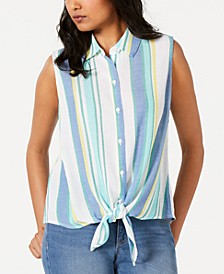 Sleeveless Tie-Front Shirt, Created for Macy's
