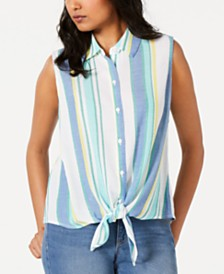 Charter Club Sleeveless Tie-Front Shirt, Created for Macy's