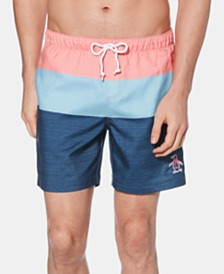 Original Penguin Men's Colorblocked Swim Trunks, Created for Macy's
