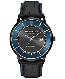 Men's Solar Black Leather Strap Watch 42mm