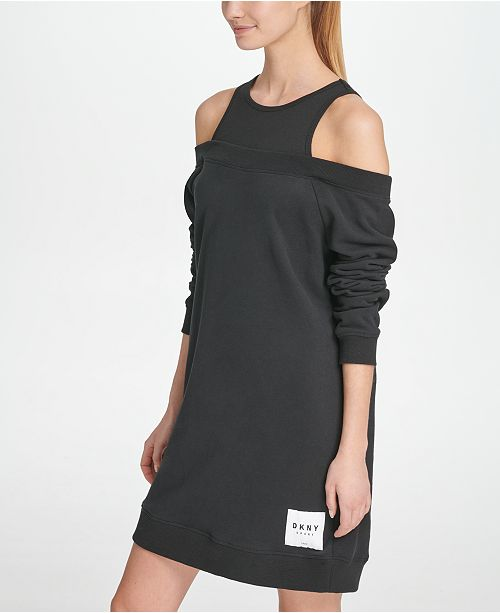 DKNY Sport Cotton Cold-Shoulder Shirtdress