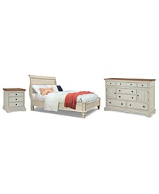 Cottage Solid Wood Bedroom 3-Pc. Set (California King, Nightstand & Dresser)