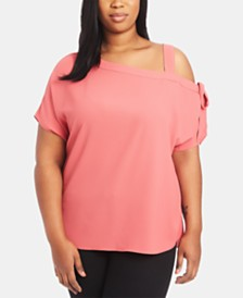 1.STATE Plus Size One-Shoulder Bow Top