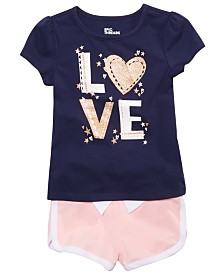 Epic Threads Little Girls Love Graphic T-Shirt & Shorts Separates, Created for Macy's