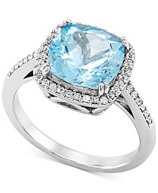Sky Blue Topaz (3-3/4 ct. t.w.) & White Topaz (1/5 ct. t.w.) Statement Ring in 14k White Gold