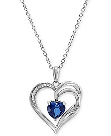 "Lab Created Ceylon Sapphire (1-5/8 ct. t.w.) & Diamond Accent Heart 18"" Pendant Necklace in Sterling Silver"