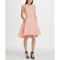 DKNY Mesh Sleeveless Fit & Flare Dress (Blush)