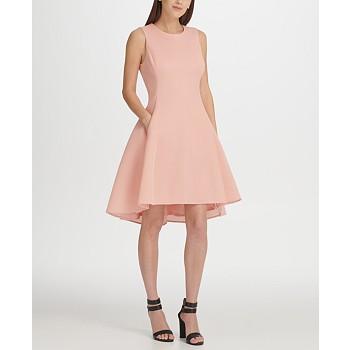 DKNY Mesh Sleeveless Fit & Flare Dress