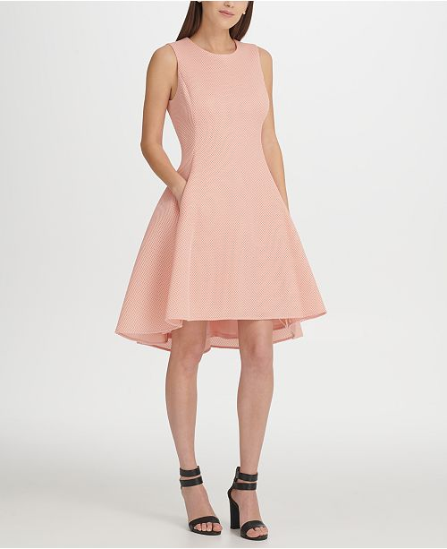 DKNY Mesh High-Low Fit & Flare Dress, Created for Macy's