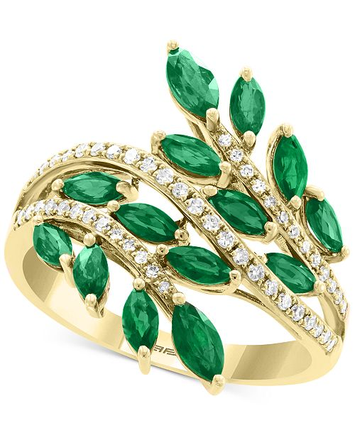 EFFY Collection EFFY® Emerald (1-3/8 ct. t.w.) & Diamond (1/5 ct. t.w.) Ring in 14k Gold