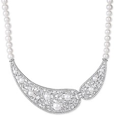 "Cultured Freshwater Pearl (5-10mm) & Swarovski Zirconia 17"" Statement Necklace in Sterling Silver, Created for Macy's"