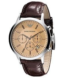 Emporio Armani Watch, Men's Chronograph Brown Embossed Leather Strap 43mm AR2433