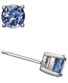 Tanzanite Stud Earrings (1 ct. t.w.) in 14k White Gold