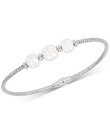 Cultured Freshwater Pearl (7-9mm) Bangle Bracelet in Sterling Silver