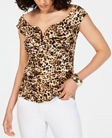 Thalia Sodi Sweetheart Leopard-Print Top, Created for Macy's