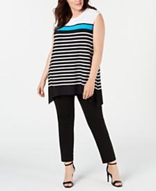 Calvin Klein Plus Size Handkerchief-Hem Tunic
