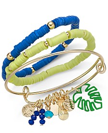 I.N.C. Gold-Tone 3-Pc. Set Multi-Bead & Shaky Charm Bangle Bracelets, Created for Macy's