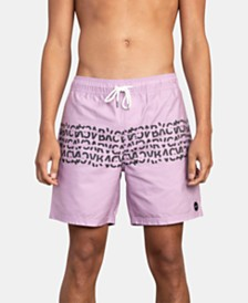 "RVCA Men's Shattered Water-Repellent Logo-Print 17"" Swim Trunks"